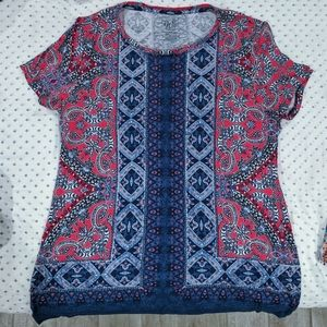Brand-new, cute red and blue knit top - sz Medium